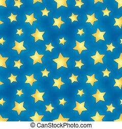 dorato, blu, modello, seamless, lucido, stelle
