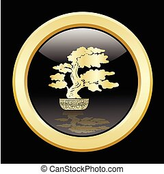 dorato, bonsai, silhouette, sopra, uno, sfondo nero