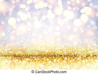 dorato, brillare, sfocato, luci, baluginante, fondale