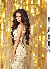 dorato, brunetta, sopra, capelli, elegante, moda, proposta, ritratto, ragazza, vestire, stile, luci, gold., lungo, fondo., ardendo, splendido, donna, bellezza, trucco, ondulato, sexy, tramortire, modello