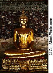 dorato, budda, statua, tailandia, sorriso, tempio