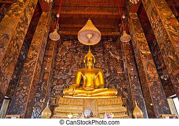 dorato, budda, tempio, statua, tailandia