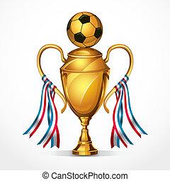 dorato, calcio, premio, medals.