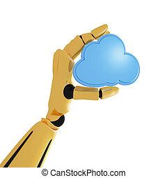 dorato, calcolare, mano, fondo, robotic, bianco, 3d, nuvola, icona