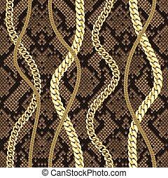 dorato, catene, seamless, modello, su, serpente, fondo.