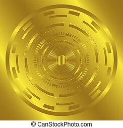 dorato, cerchio, luce, fondo