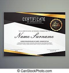 dorato, certificato, colorare, premio, apprezzamento, nero,...