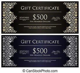 dorato, certificato regalo, vendemmia, decorazione, nero, argento, laccio