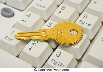 dorato, chiave calcolatore, tastiera