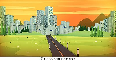 dorato, cielo, strada, città grande
