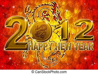 dorato, cinese, illustrazione, drago, anno, nuovo, felice, 2012