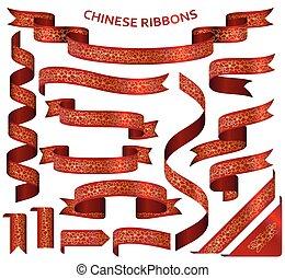dorato, cinese, ornamento, realistico, nastri, rosso