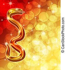 dorato, cinese, sfocato, serpente, fondo, anno, nuovo