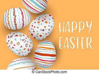 dorato, colorito, uova, text., fondo., fila, pasqua, felice