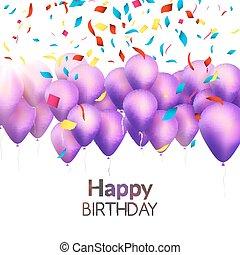 dorato, compleanno, invito, vettore, coriandoli, festa, palloni, Scheda, Felice