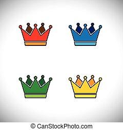 dorato, concetto, corona, vettore, logotipo, lucente, icona