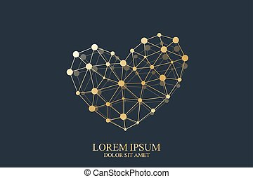dorato, concetto, cuore oro, segno., valentines, scienza, creativo, vettore, disegno, medicina, sagoma, chimica, tecnologia, giorno, icona