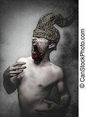dorato, concetto, fantasma, casco, incubi, corna, uomo