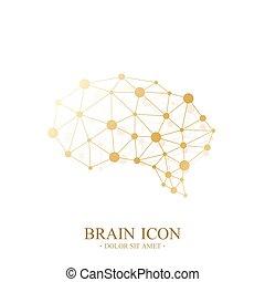 dorato, concetto, premio, medico, creativo, cervello, vettore, disegno, sagoma, icon., logo.