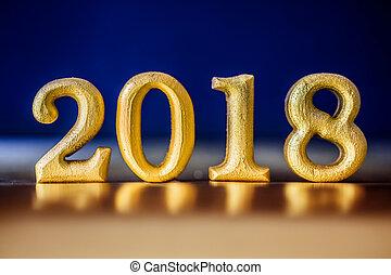 dorato, concetto, tono, oro, disposto, notte, numero, fascino, elegante, 2018, fondo, anno, nuovo, celebrazione