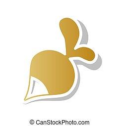 dorato, cont, semplice, ravanello, segno., pendenza, vector., bianco, icona