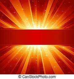 dorato, copyspace, scoppio, luce, stelle, rosso