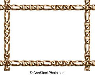 dorato, cornice, catena