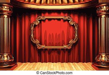 dorato, cornice, rev, vettore, tenda, palcoscenico