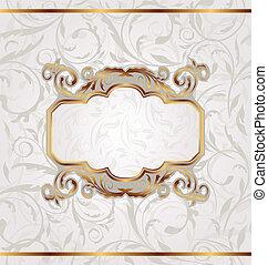 dorato, cornice, seamless, struttura, retro, floreale