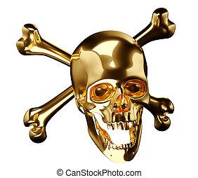 dorato, cranio, attraversato, ossa, totenkopf, o