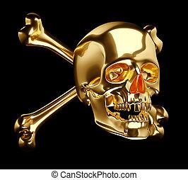 dorato, cranio, croce, isolato, ossa, totenkopf, o