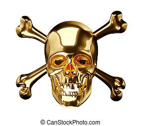 dorato, cranio, croce, ossa, totenkopf, bianco, o