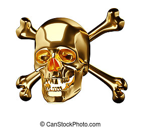 dorato, cranio, croce, ossa, totenkopf, o