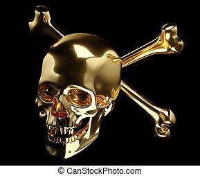 dorato, cranio, isolato, attraversato, ossa, totenkopf, o