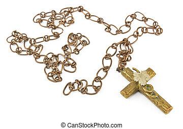 dorato, cristiano, croce, con, catena