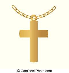 dorato, croce, icon-, cristiano, vettore, illustrazione
