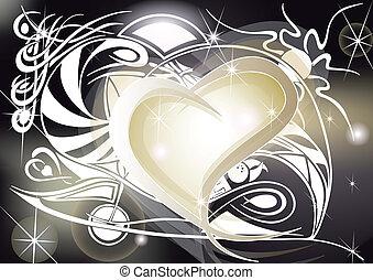 dorato, cuore, con, tribale, progetta
