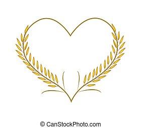 dorato, cuore, gelsomino, forma, riso, o