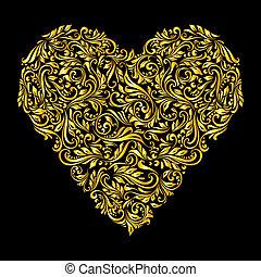 dorato, decorato, cuore