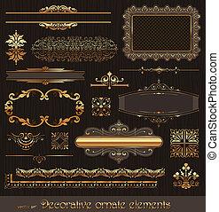 dorato, decorazione, elementi, pagina, ornare