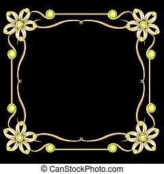 dorato, diamante, frame., oro, vendemmia, cornice, fondo., gioielleria
