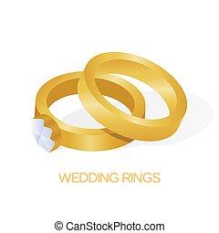 dorato, diamante, grande, coppia, illustrazione, vettore, fede, baluginante