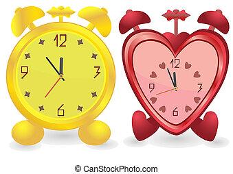 dorato, differente, forma, allarme, due, colorare, clocks, rosso