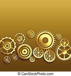 dorato, disegno, ingranaggi, fondo, metallico