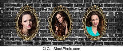 dorato, donna, parete, ritratti, cornici, mattone