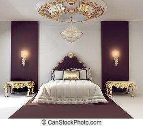 dorato, doppio, reale, lusso, camera letto, interno, mobilia