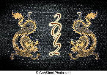 dorato, drago cinese, vernice, anno, jean, 2012