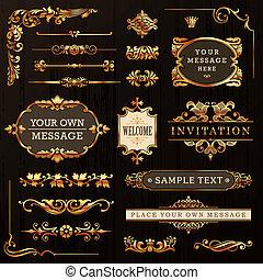 dorato, elementi, disegno, calligraphic