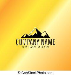 dorato, emblema, montagna