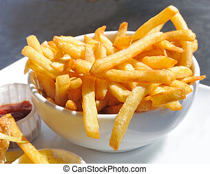dorato, essere, patate, frigge, francese, mangiato, pronto
